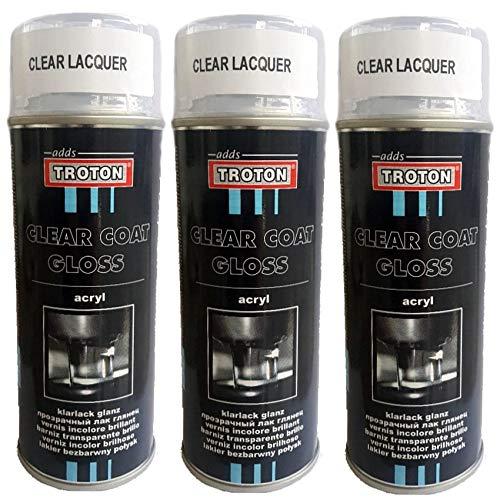 Troton Barniz transparente en aerosol, 400 ml, brillante, pintura para coche, 1 K, brillante, lata brillante (3)