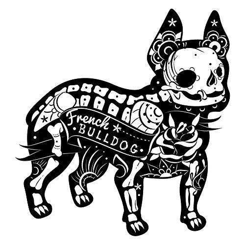 Dark Spark Decals French Bulldog Skeleton Sugar Skull - Vinyl Decal for Indoor or Outdoor use, Cars, Laptops, Décor, Windows, and More (12 Inch) (8 Inch) (10 Inch)