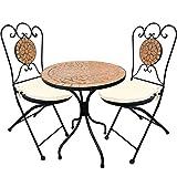 Mosaik Sitzgarnitur Sitzgruppe Gartentisch Stühle Gartengarnitur Gartenmöbel Bistrotisch Set 5-teilig