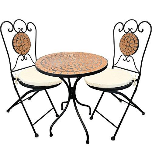 Set di tavolo più sedie da giardino, 5 pezzi, in stile mosaico mediterraneo, mobili da giardino, da...