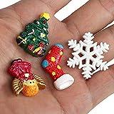 Kesote 30 Stück Mini Weihnachten Deko DIY Zubehör Kunstharz Miniatur Klein Figur - 4