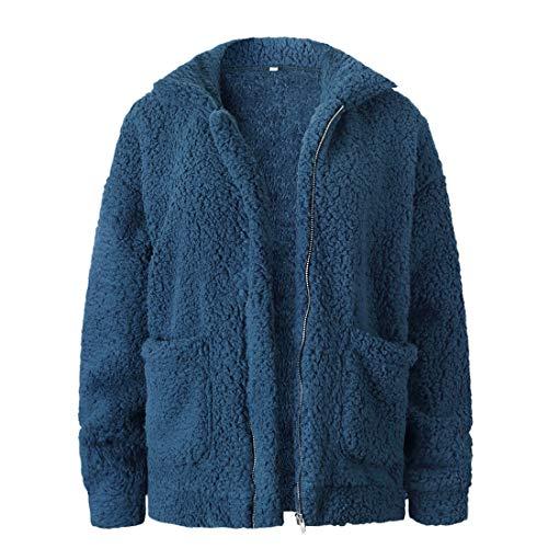 Suéter con capucha para mujer Pullover de felpa de peluche Otoño Invierno Top Sudadera de color sólido de manga larga con cremallera de color sólido Abrigo de peluche Chaqueta con capucha cálida Parka