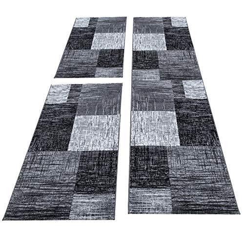 HomebyHome Teppich Bettumrandung 3 Teile Läufer Kurzflor Set Grau Schwarz meliert, Bettset:2 x 80x150 cm + 1 x 80x300 cm