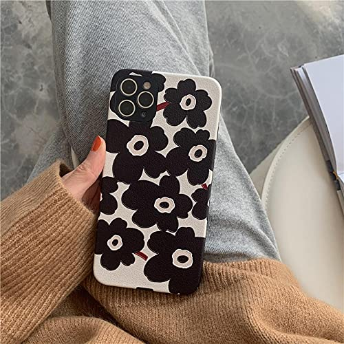Funda de teléfono de Cuero con Flor Negra a la Moda para iPhone 12 Mini 11 12 Pro MAX 7 8 Plus contraportada para iPhone SE 2020 Cute Soft Case-For-iphoneXR_WY481