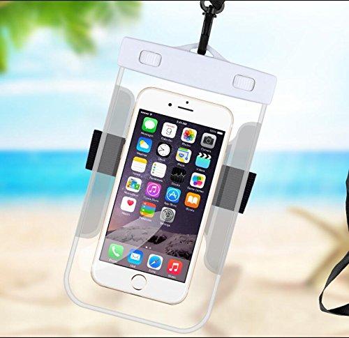 Qsoleil - Funda impermeable universal para teléfono móvil, impermeable, bolsa seca para deportes acuáticos al aire libre, a prueba de nieve, a prueba de suciedad, 1 paquete de color blanco