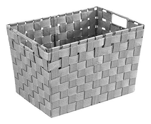 WENKO Aufbewahrungskorb Adria M Grau - Badkorb, Küchenkorb, Polypropylen, 35 x 22 x 25.5 cm, Grau
