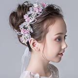 IYOU Diadema de flores rosas para novia, accesorios para el cabello de la santa comunión