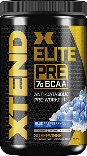 XTEND Elite Pre BCAA Powder Anti-Catabolic Pre Workout Drink with Branched Chain Amino Acids BCAAs, Blue Raspberry Ice, 30 Servings