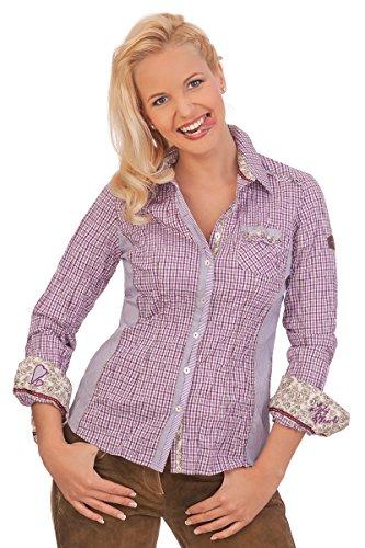 Spieth & Wensky Trachten Bluse Crashoptik, Langer Arm - AURIS - rot, blau, violett, Größe 50