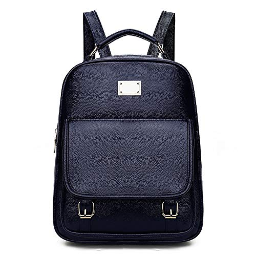 Zhang Korean Version of The Backpack Pu Leather Girls Soft Face Fashion Handbags 03 (Color : Blue)