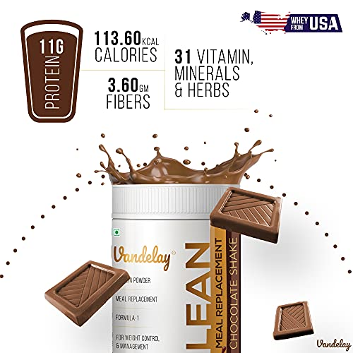 Vandelay Labs Slim Lean Shake - Meal Replacement Nutrition Chocolate Slim Shake - High Protein Powder Shakes - 31 Vitamins, Minerals, and Herbs - Ideal for Diet, Weight Loss, Control, and Management