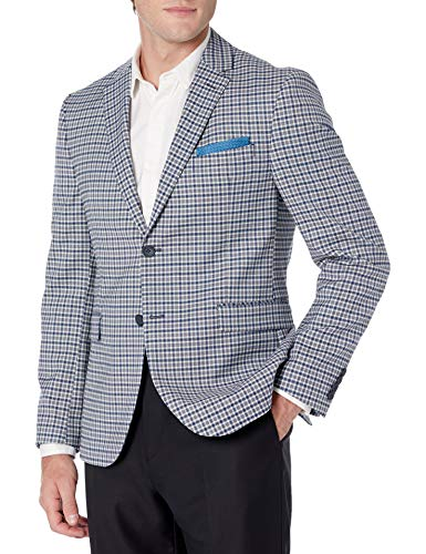 Original Penguin Men's Sport Coat, Medium Blue Check, 42 Regular