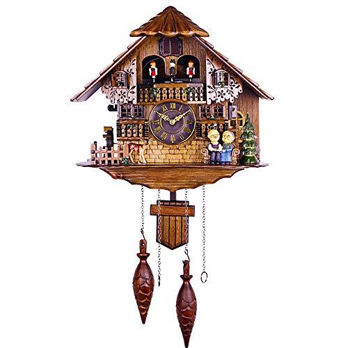 Wgwioo Reloj De Cuco, Péndulo De Reloj De Pared De Cuarzo De La Selva Negra, Pájaro Móvil, Bailarines, Control De Luz Y Parada Manual, para Decoración del Hogar