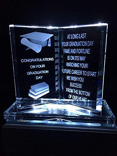 Shop Smart Graduation Present LED Gifts Ornament Engraved Glass Graduate Plaque with Poem