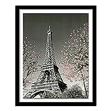 Xevkkf 5D DIY Diamante Redondo Completo Bordado de Diamantes Torre de Hierro de París árbol Rojo Pintura de Diamantes Punto de Cruz decoración de Diamantes de imitación 40x50cm