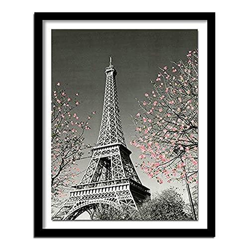 DIY 5D Diamante pintura conjunto completo de torre Eiffel manglar cristal rhinestone bordado imagen artesanía regalo para decoración de la pared del hogar Diamante redondo 40x30cm