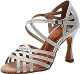 Zapatos de baile para mujer, estilo latino, moderno, rumba, tango, social, novia, boda, baile o fiesta, color Plateado, talla 38 EU
