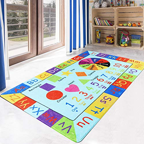 LIVEBOX Play Mat, Faux Wool Kids Play Area Rugs 4' x 6' Non-Slip Childrens Carpet ABC Number and Color Educational Learning & Game for Living Room Bedroom Playroom Best Shower Gift