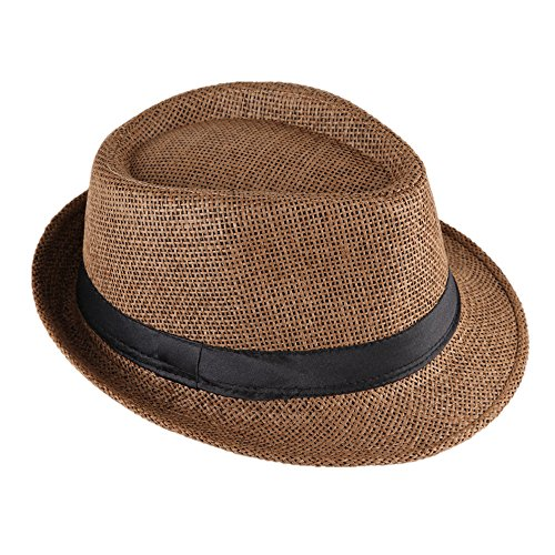 Miobo Strohhut Panama Fedora Trilby Gangster Hut Sonnenhut mit Stoffband Farbe:-Braun (Strohhut) Gr:-58