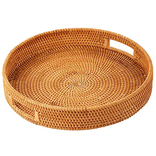 Hongyuangl Rattan Bread Basket Round Hand-Woven Tea Tray With Handles For Serving Dinner Parties Coffee Breakfast
