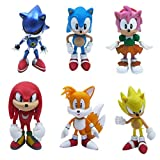 Set of 6pcs Sonic the Hedgehog Action Figures, Cake Toppers, 2.4'