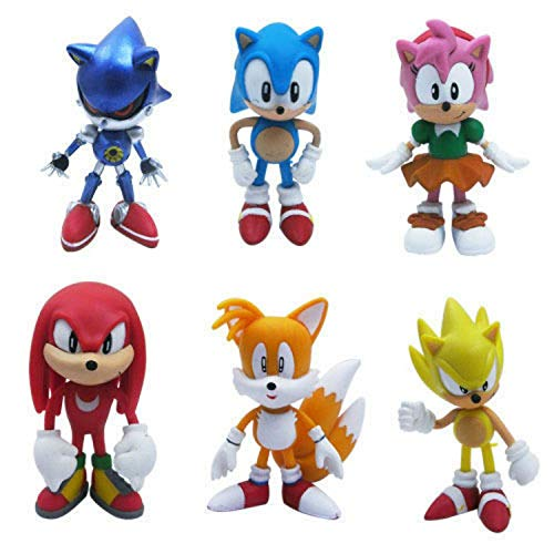 Set of 6pcs Sonic the Hedgehog Action Figures, Cake Toppers, 2.4""