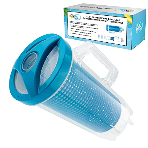 """U.S. Pool Supply Professional in-line Pool Leaf Canister with Large Plastic Mesh Basket & Mesh Bag - Fits 1-1/2"""" Swimming Pool Cleaner Vacuum Hose Sections - Skims Leaves, Prevents Filter Clogging"""