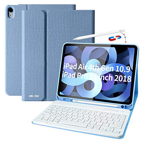 iPad Air 4th Generation Case with Keyboard iPad 10.9 2020 Keyboard Case with Pencil Holder Bluetooth Keyboard Cover Case for iPad 11 Pro 2018, iPad Air 4 Gen, Slim Keyboard Case