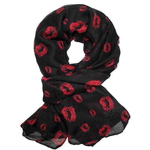 Soul-Cats® schicker Schal mit Kussmund rot schwarz
