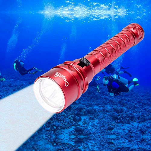 CrazyFire Linterna de Buceo, 3000lm Scuba LED Diving Linterna, 80M Antorcha de Buceo Profundo Impermeable bajo el Agua, Luz LED de Buceo con Correa de Mano para Actividades de Buceo, Pesca, etc.