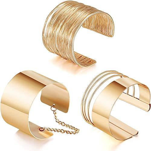 3 Pezzi Braccialetto Largo Bracciale Regolabile in Lega Bracciale a Spirale in Oro per Donna