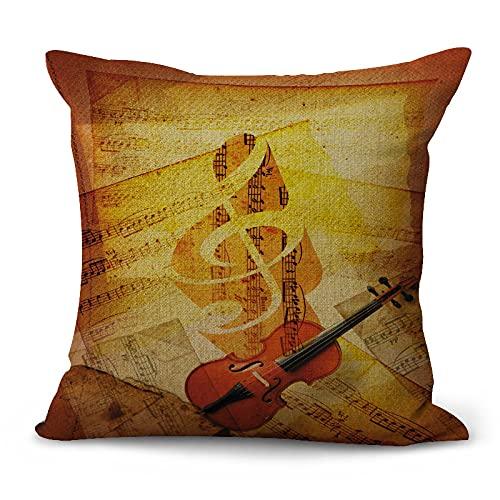 Funda De Almohada Decorativa De La Serie De Notas De Instrumentos Musicales Engrosada Sin Núcleo De Almohada Funda De Cojín Lavable Adecuada para Sofá Oficina Coche