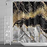 Duschvorhänge aus Marmor in Schwarz & Gold, abstrakte goldene rissige Linien, moderne Luxus-Marmor-Textur, Badezimmervorhang, wasserdichter Stoff, 183 x 183 cm mit Haken