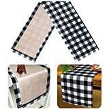 Senneny Christmas Table Runner Burlap & Cotton Black White Plaid Reversible Buffalo Check Table Runner for Christmas Holiday Birthday Party Table Home Decoration (Black and White, 14 x 72 Inch)