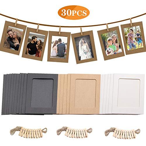 Papier Bilderrahmen 10x15cm, 30pcs Fotorahmen Papier 6x4 in Zum Aufhängen, mit Mini-Holzklammern und Hanfseilen, Wanddeko DIY Kreative für DIYGeburtstag / Hochzeit / Jubiläum / Festival