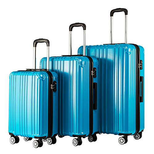COOLIFE Expandable Suitcase(Only L Size Expandable) Hardshell Luggage Lightweight Durable PC+ABS Material with TSA Lock and 4 Spinner Wheels (Turquoise Blue, 3-Piece Set)