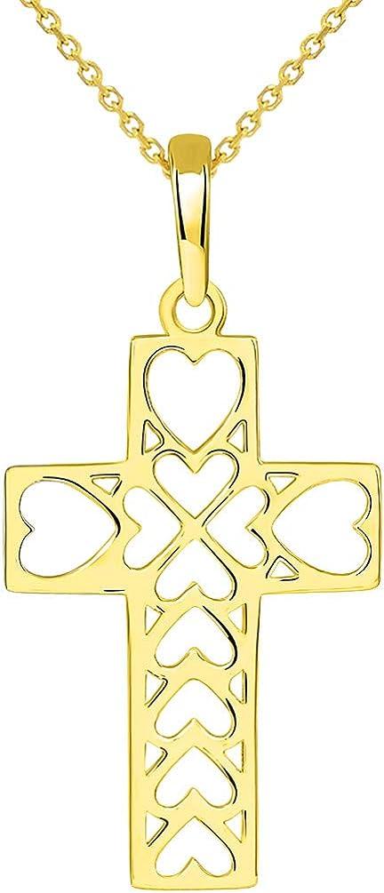 14k Yellow Gold Open Heart Christian Cross Pendant Necklace