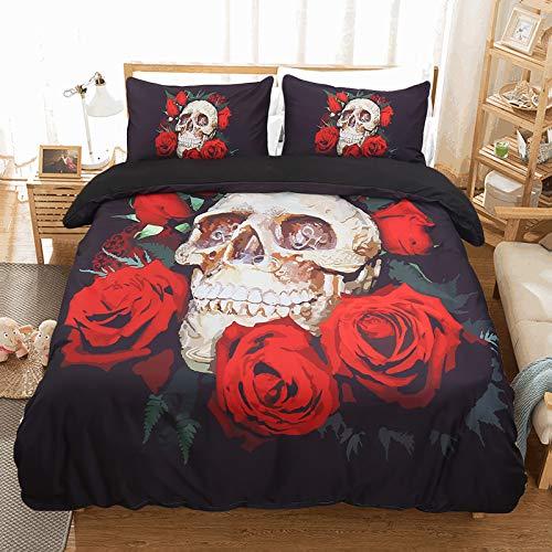 3D Skull Rose Bedding Set Copripiumino 3D Stampa Floreale e Teschio in Microfibra Bohemian Bedding Comforter Copre Matrimoniale, con Chiusura a Cerniera Nero 200 * 200cm 200 * 200cm