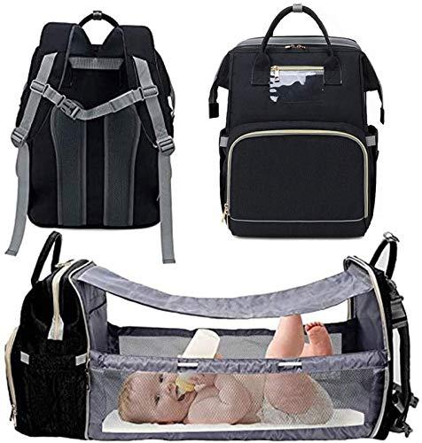 YIJIN Portable Diaper Bag Portable Folding Baby Crib Mommy Bag Multifunctional Travel Backpack Maternity Baby Diaper Bags,E