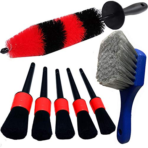 LUCKLYJONE 7Pcs Wheel & Tire Brush, car Detailing kit, 17inch Long Soft Wheel Brush 5 car wash Detail Brush car wash kit for Cleans Dirty Tires & Releases Dirt and Road Grime, Short Handle