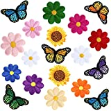 74 Pieces Decoration Sew Patches Set, Including 10 Pieces Butterfly Iron-on Patches, 60 Pieces Flower Embroidered Patch and 4 Sunflower Patch for Clothing, Jackets, Backpacks, Pants