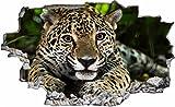 DesFoli Leopard Gepard 3D Look Wandtattoo 70 x 115 cm Wanddurchbruch Wandbild Sticker Aufkleber C160