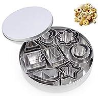 formine per biscotti in acciaio inox di 24 pezzi, mini stampini taglierine di varie forme geometriche di cuore stella fiore per pasta torta pasticceria