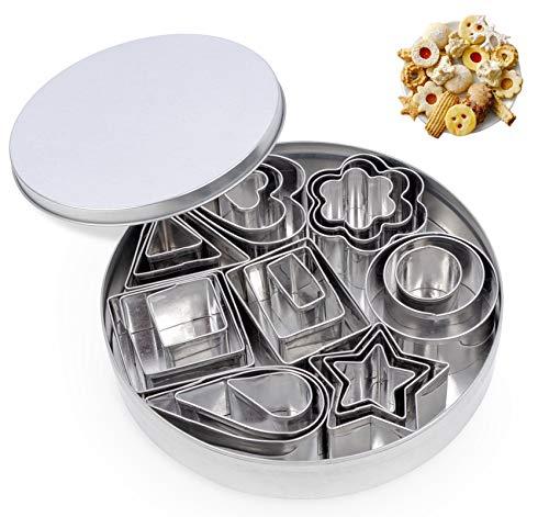 Formine per Biscotti in Acciaio Inox di 24 pezzi, Mini Stampini...
