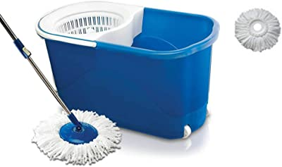 ShopyBucket Spin mop with easy wheels and bucket for magic 360 degree cleaning (with 2 refills)