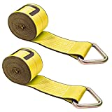 US Cargo Control 4 Inch x 30 Foot Yellow Winch Straps with D-Ring 2 Pack
