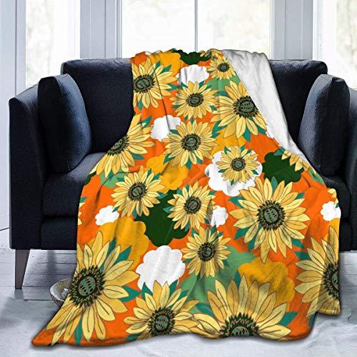 Manta de franela de girasol amarillo, ligera, acogedora, manta suave, se adapta a sofá sofá adecuado para todas las estaciones para niños, mujeres y hombres de 50 x 40