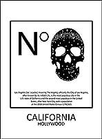 【スカル・カリフォルニア・ハリウッド】 白光沢紙(フレーム無し)A4サイズ