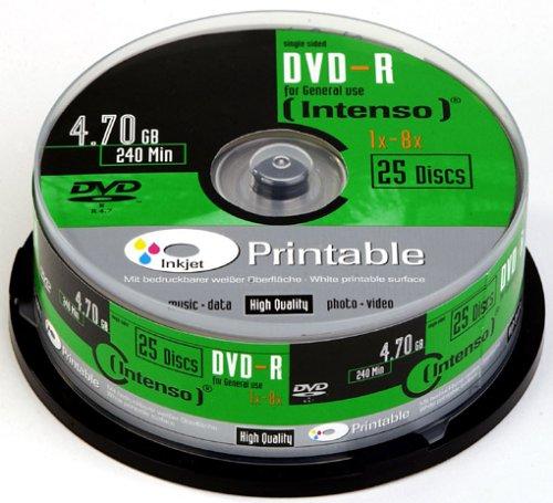 Intenso DVD-R 25Eje Printable 8x Speed DVD de Torre