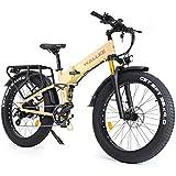 WALLKE X3 Pro Adult Electric Bicycle 26' No Welding Port Aluminum Alloy Frame Fat Tire Bike 48V 14AH Samsung Lithium Battery 750W Mountain Snow E-Bike (Matte Yellow)